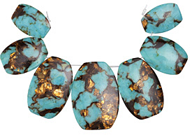 Synthetic Turquoise & Bronzite Bib Graduated Oval Pendant Set 20-35x30-50mm
