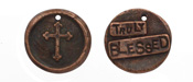 "The Lipstick Ranch Antique Copper (plated) Pewter ""Truly Blessed"" Cross Wax Seal Charm 20mm"