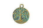 Patina Green Brass (plated) Tree of Life Over Garden Coin Charm 20x24mm