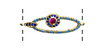 Jewel Tone Mix Pave CZ Gold (plated) Elongated Oval Focal Link 32x10mm