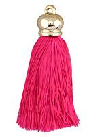 Hot Pink Thread Tassel w/ Metallic Gold Plastic Tassel Cap 70mm