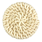 White Rattan-Style Woven Coin Focal 40-43mm