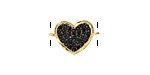 Jet Pave CZ 18K Gold (plated) Heart Focal Link 18x12mm