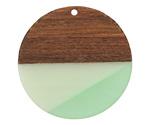 Walnut Wood & Beach Glass Resin Coin Focal 38mm