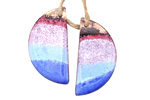 Gaea Copper Ocean Enamel Half Moon Focal Pair 14x26mm
