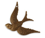Vintaj Natural Brass Fanciful Bird Pendant 32x42mm