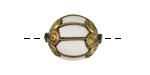 Tibetan Brass & White Resin Caged Bead 26-27x21-23mm