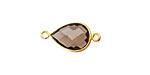 Smoky Quartz Faceted Teardrop Link in Gold Vermeil 20x10mm
