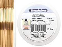 German Style Wire Non Tarnish Brass Square 20 gauge, 19 meters