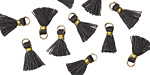 Graphite w/ Gold Binding & Jump Ring Tiny Thread Tassel 12mm