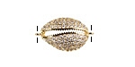 Clear Pave CZ Gold (plated) Stainless Steel Cowrie Shell Focal Link 22x13mm