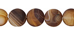 Brown Line Agate (matte) Puff Coin 12mm