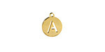 """Gold (plated) Stainless Steel Initial Coin Charm """"A"""" 10x12mm"""