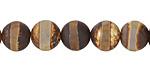 Tibetan (Dzi) Agate (dark) Matte Banded Round 10mm