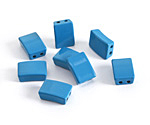 Turquoise Enamel 2-Hole Tile Rectangle Bead 12x8mm
