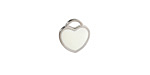 White Enamel Stainless Steel Heart Charm 11x12mm