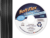 "Soft Flex Black Onyx .014"" (Fine) 21 Strand Wire 10ft."