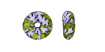 African Recycled Seed Bead Green, Blue & White Donut 4-6x17-20mm