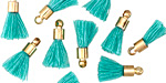 Turquoise w/ Gold (plated) Bead Cap Tiny Thread Tassel 15mm