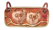 Patricia Healey Copper Perched Owls 2-Loop Tag Pendant 50x30mm