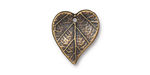TierraCast Antique Brass (plated) Heart Leaf Charm 15x17mm