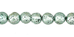 Metallic Mint (plated) Lava Rock Round 8mm
