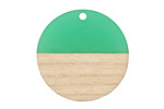 Wood & Emerald Resin Coin Focal 28mm