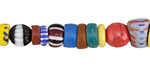 African Glass Mixed Graduated Ghana Beads 3-21x4-10mm