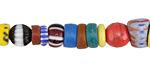 African Glass Mixed Graduated Ghana Beads 3-21x4-10mm