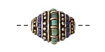 Tibetan Brass w/ Turquoise & Lapis Rice Bead 19-21x16-17mm