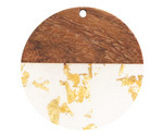 Walnut Wood & Clear w/ Gold Foil Resin Coin Focal 38mm