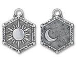 TierraCast Antique Silver (plated) Sun & Moon Pendant 15x28.5mm