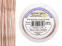 Artistic Wire Silver Plated Rose Gold 22 gauge, 10 yards
