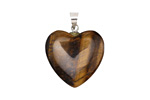 Tiger Eye Heart Pendant w/ Silver (plated) Bail 20mm