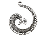Zola Elements Antique Silver (plated) Peacock Swirl Focal 32x40mm