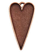 Nunn Design Antique Copper (plated) Grande Heart Bezel Pendant 54x29mm