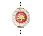 Tibetan White Shell & Brass w/ Lotus on a Coral Center Coin Bead 24x22mm