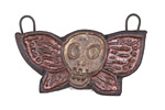 Gaea Ceramic Cream On Purple Skull Moth Pendant 41x25mm