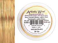 Artistic Wire Tarnish Resistant Brass 28 gauge, 40 yards