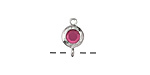 Cranberry Crystal in Silver (plated) Textured Bezel Link 7x12mm