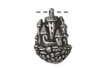 Green Girl Pewter Floating Castle Pendant 17x25mm