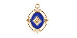 Zola Elements Cobalt Enamel Matte Gold Finish Ornate Framed Oval Focal 15x20mm
