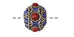 Tibetan Brass Rondelle Bead w/ Coral, Lapis & Turquoise 12x19mm