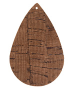 Dark Brown Cork Large Teardrop Focal 37x56mm