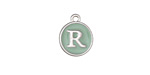 "Sweet Mint Enamel Silver Finish Initial Coin Charm ""R"" 12x14mm"