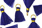 Cobalt w/ Gold Binding & Jump Ring Thread Tassel 18mm