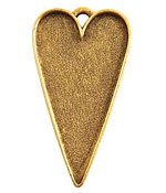 Nunn Design Antique Gold (plated) Grande Heart Bezel Pendant 54x29mm