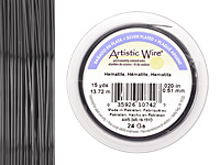 Artistic Wire Silver Plated Hematite 24 gauge, 15 yards