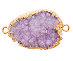 Purple Druzy Pendant Link set in Gold (plated) 30-50x18-30mm