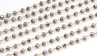 Antique Silver Crystal 3mm Delicate Brass Bead Chain